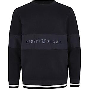 Marineblauw sweatshirt met 'Ninety eight'-vlak voor jongens