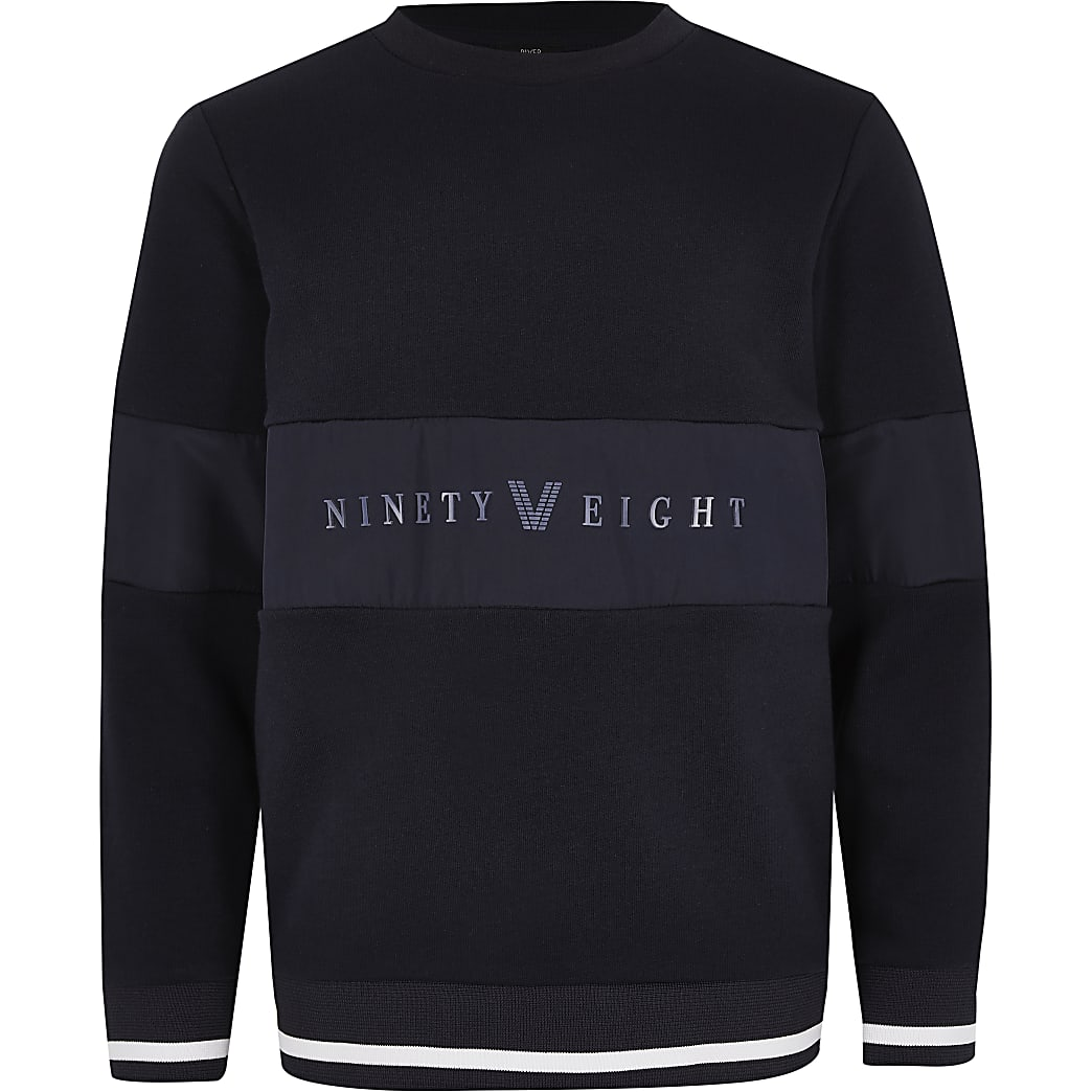 Boys navy 'Ninety eight' panel sweatshirt