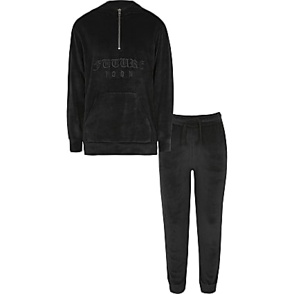 Boys black velour embroidered hoodie outfit