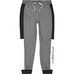 Pantalon de jogging noir en pied-de-poule pour garçon