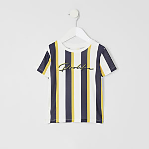 Mini boys yellow 'prolific' stripe T-shirt