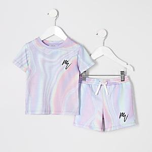 Mini - Set van mesh met roze marmerprint voor jongens