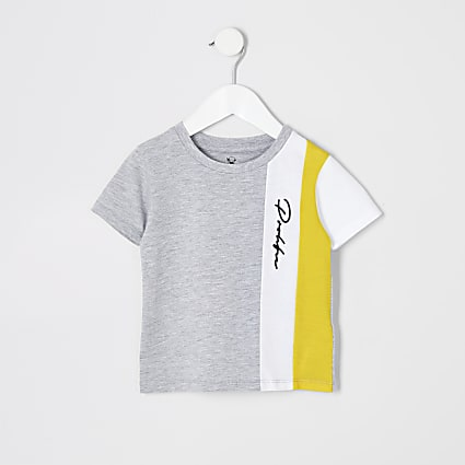 Mini boys grey colour block 'Prolific' tee