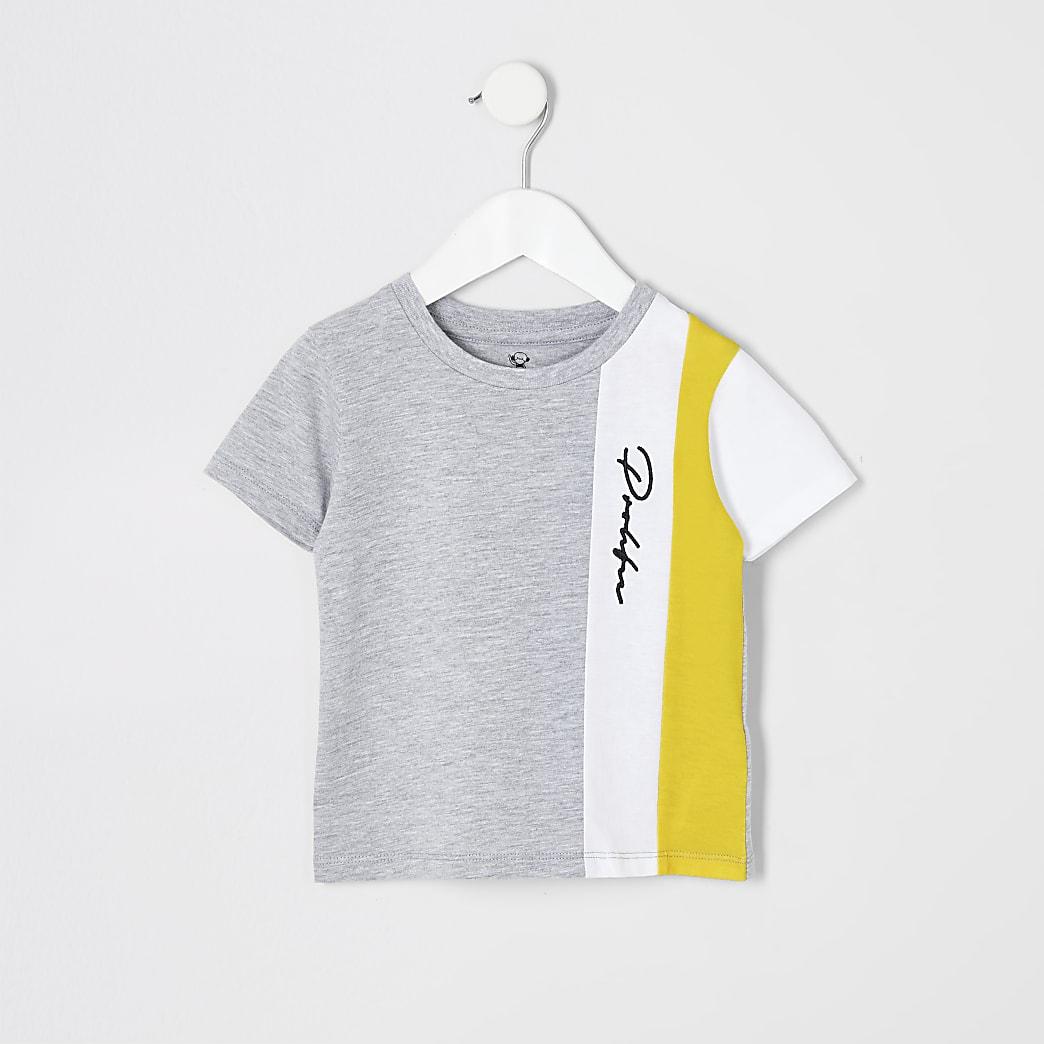 Mini boys grey colour block Prolific T-shirt