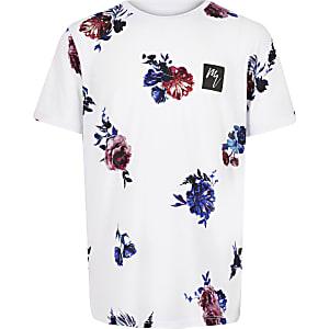 Wit gebloemd T-shirt voor jongens