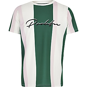 Groen gestreept T-shirt met 'Prolific'-print voor jongens