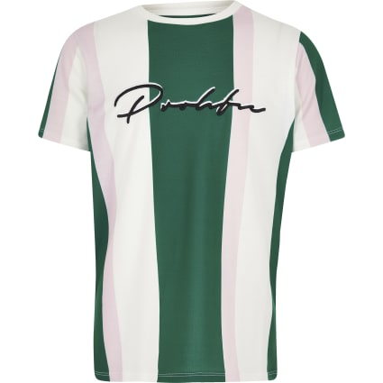 Boys green stripe 'Prolific' T-shirt