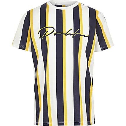 Boys yellow 'Prolific' stripe T-shirt