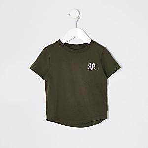 Mini - Kaki T-shirt met RI-logo voor jongens