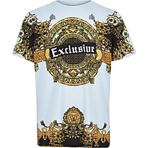 Blauw T-shirt met Exclusive- en barokprint voor jongens