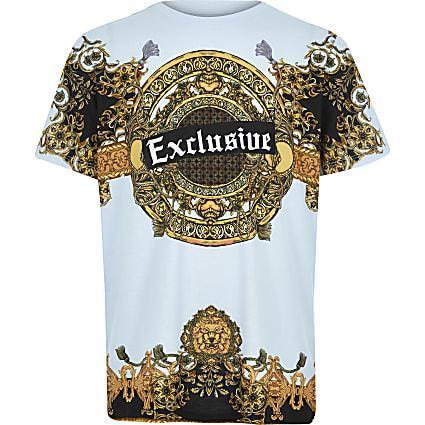 Boys blue 'exclusive' baroque print T-shirt
