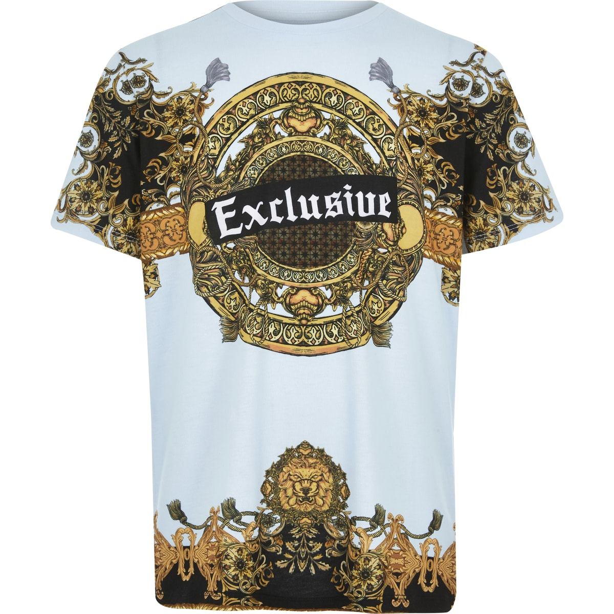 Boys blue 'exclusive' baroque print T-shirt