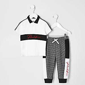 """Mini – Weißes Polo-Outfit """"Prolific"""" im Blockfarbendesign für Jungen"""
