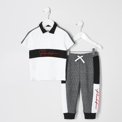 Mini boys white Prolific block polo outfit