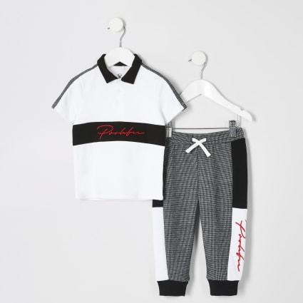 Mini boys white Prolific block polo outfit