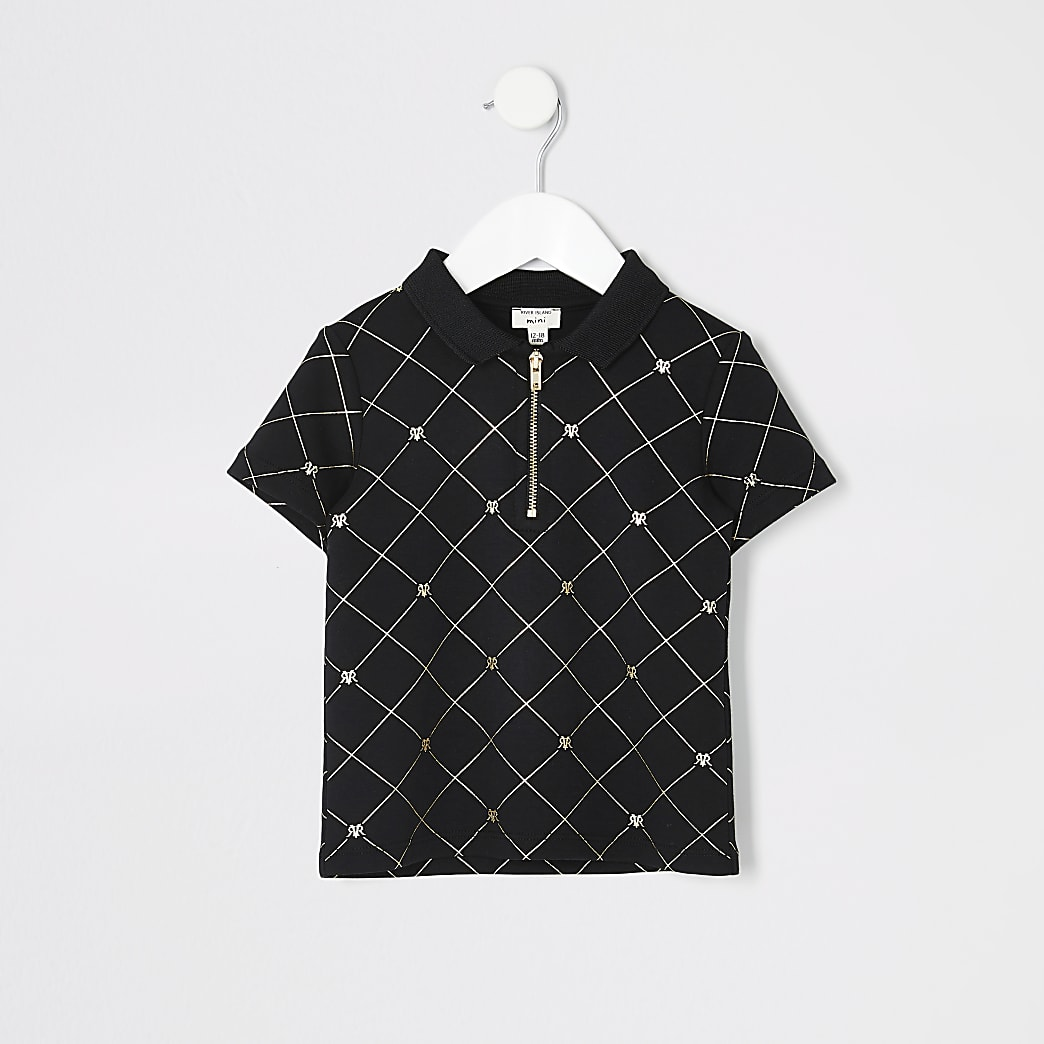 Mini boys black gold RI zip polo shirt