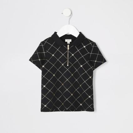 Mini boys black gold RI zip polo shirt