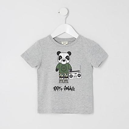 Mini boys grey '100% swag' T-shirt