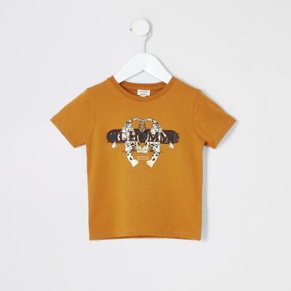Mini boys yellow 'Lil homme' printed T-shirt