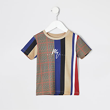 Mini boys stone vertical stripe T-shirt