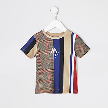 Mini boys stone vertical stripe T-shirt