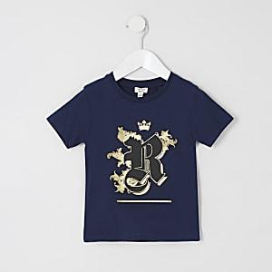 Mini - Marineblauw met folie verfraaid T-shirt voor jongens