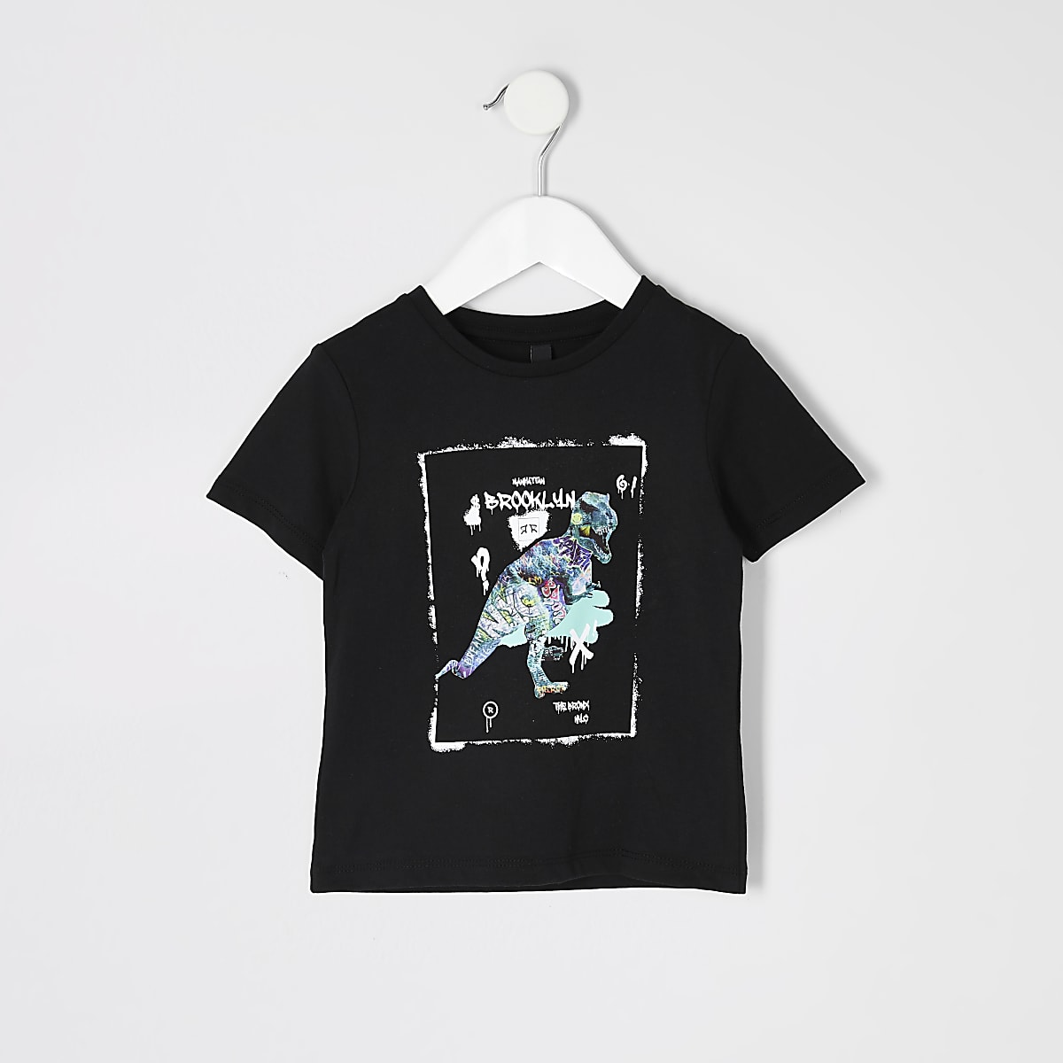 Mini boys black dinasour printed T-shirt