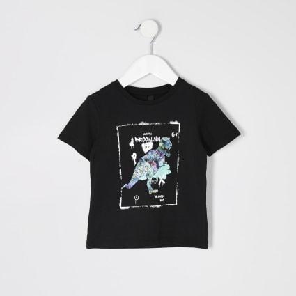 Mini boys black dinasour printed T-shirt