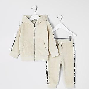 Mini – Outfit mit steingrauem Hoodie mit Plüschkapuze und Reißverschluss für Jungen