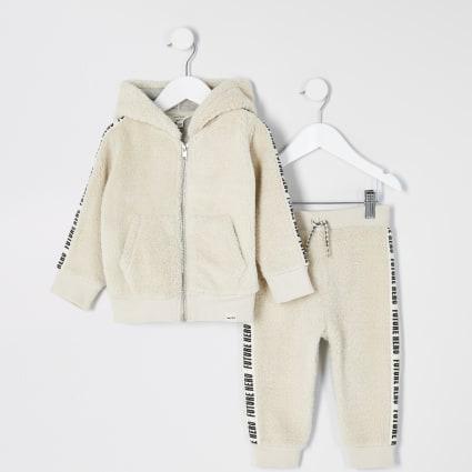 Mini boys stone borg zip hoodie outfit