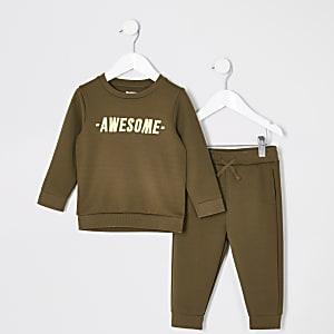 Mini - Outfit met kaki sweatshirt met 'Awesome'-tekst voor jongens