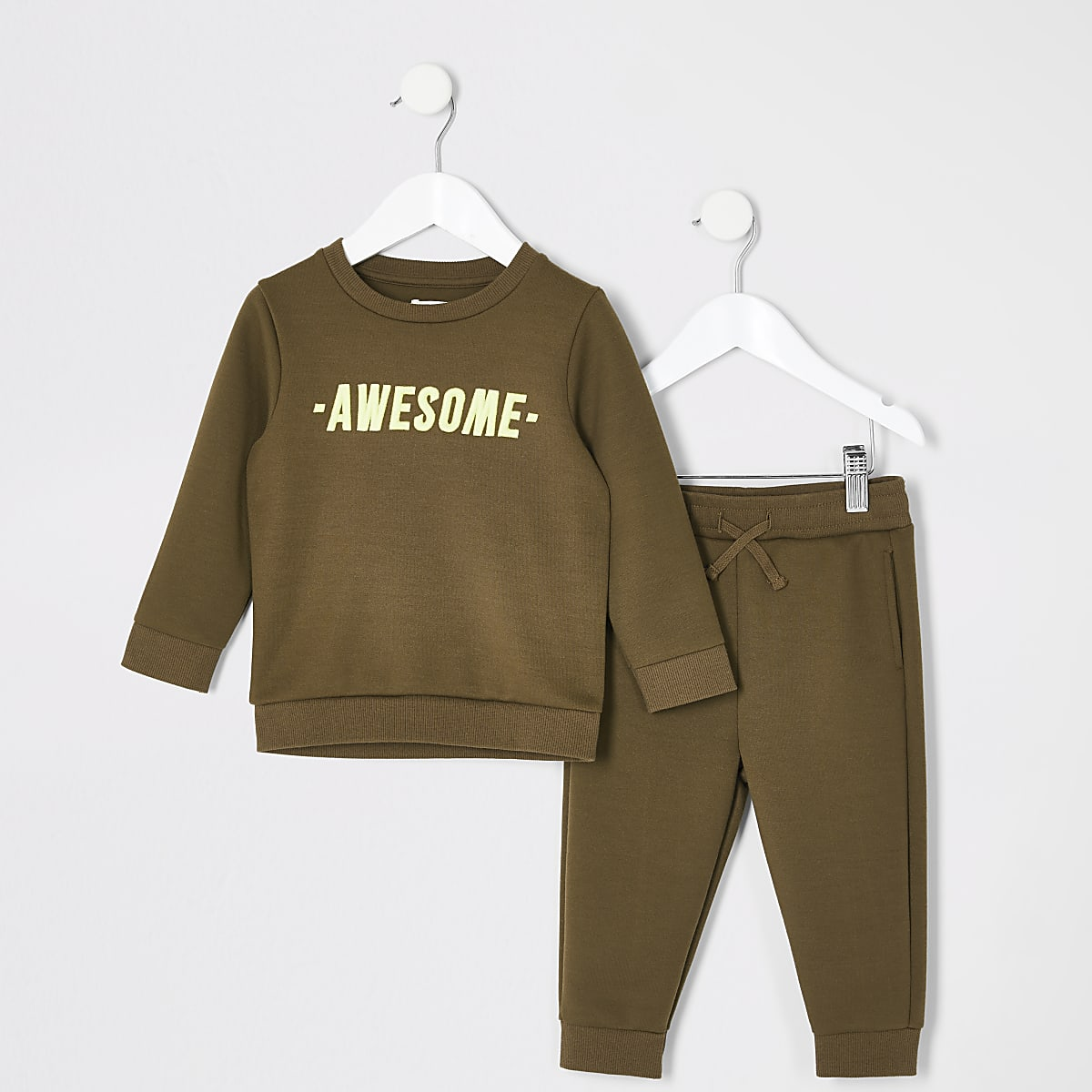 Mini boys khaki 'Awesome' sweatshirt outfit