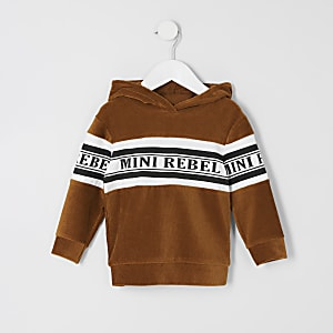 Mini - Bruine hoodie met trekkoord en kleurvlakken voor jongens