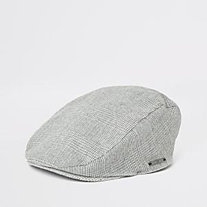 Flache Kappe mit grauem Karomuster für Jungen
