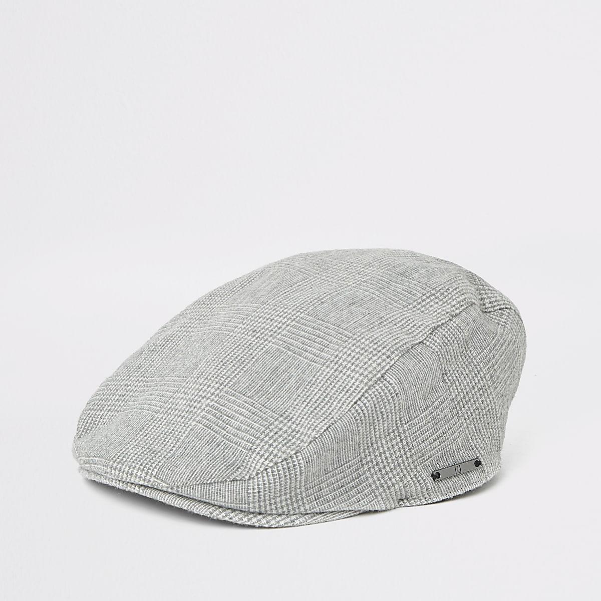 Boys grey check flat cap