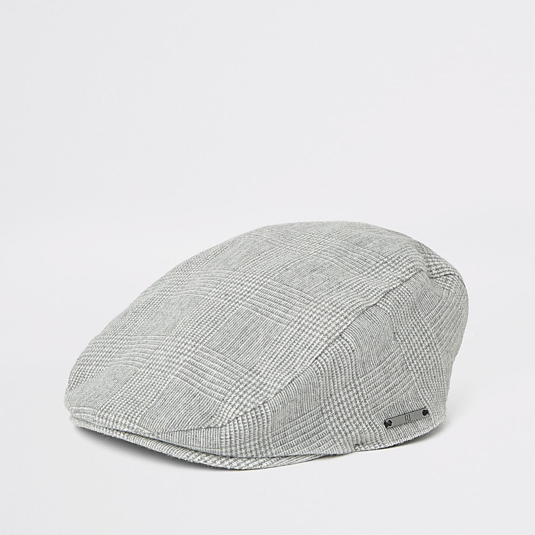 Boys grey check flat cap