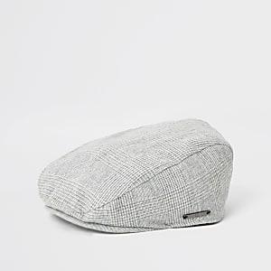 Casquette à carreaux grise avec visière plate pour mini garçon