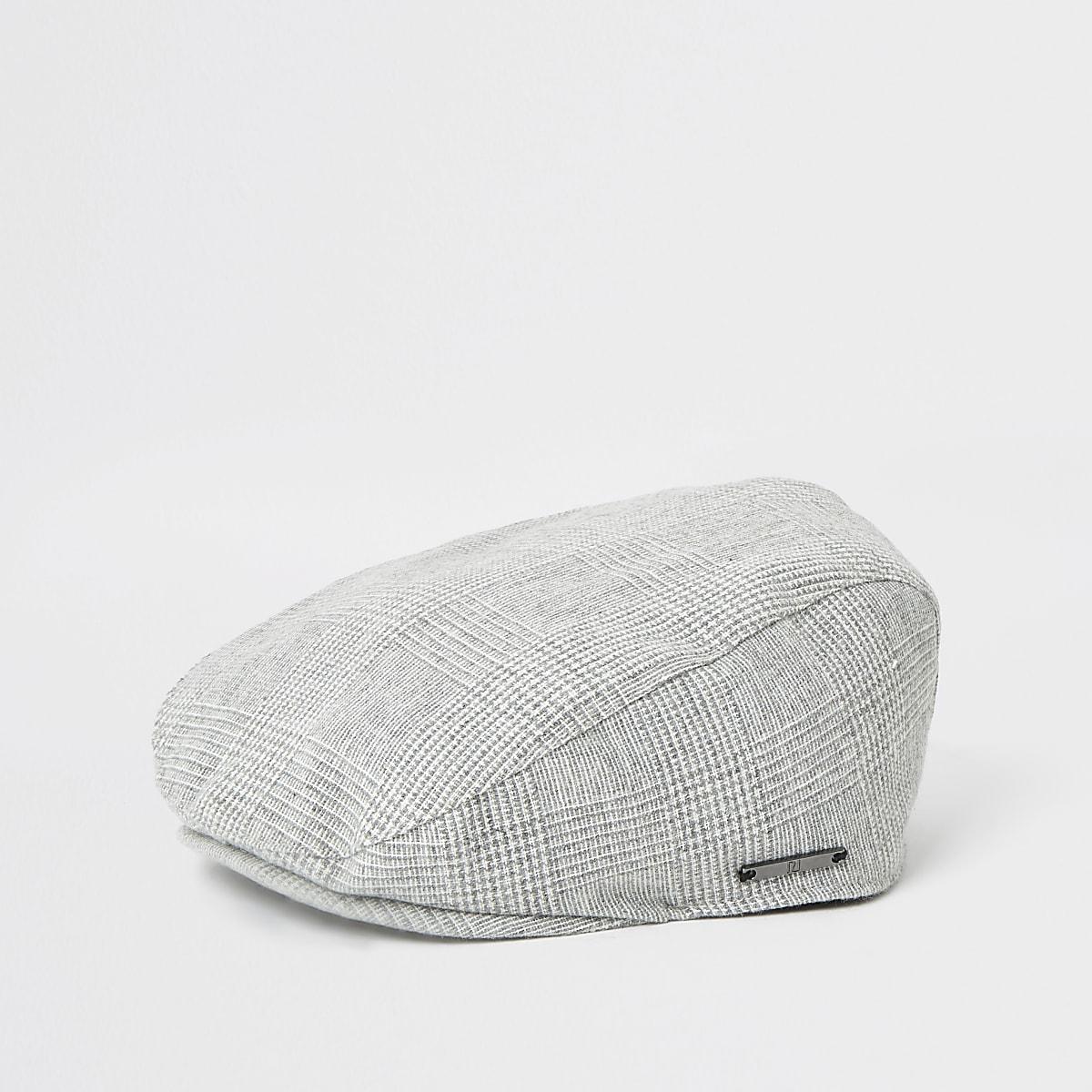 Mini boys grey check flat cap