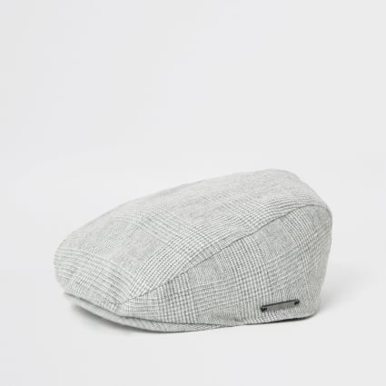Mini boys grey check flat cap