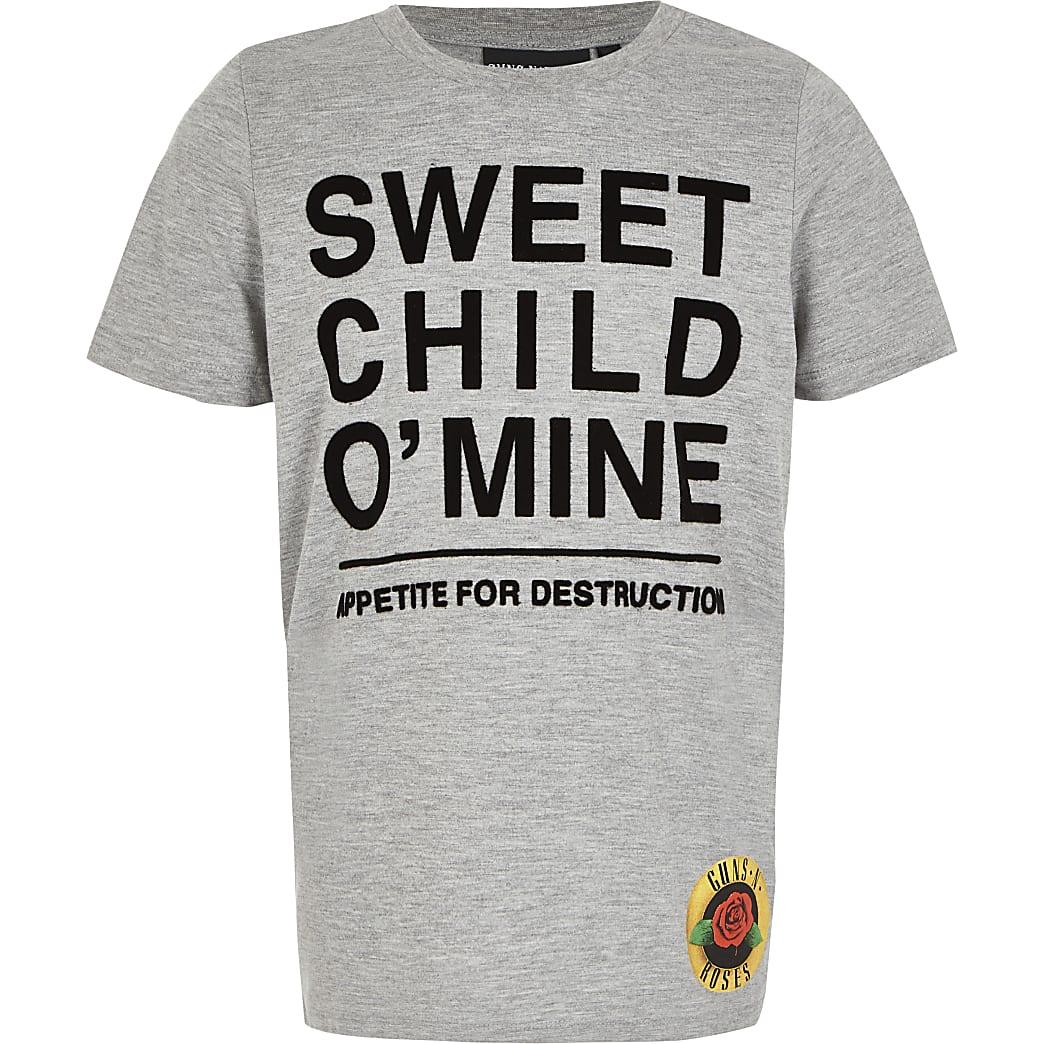 Boys Guns N Roses grey printed T-shirt