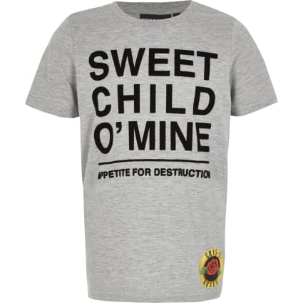Boys Guns N Roses grey printed T-shirt