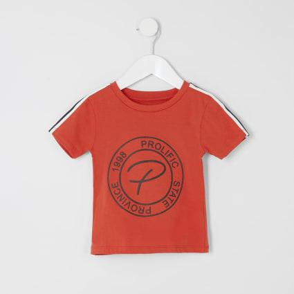 Mini boys orange Prolific embossed T-shirt