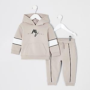 Mini - Outfit met kiezelkleurige hoodie met 'rebel'-tekst voor jongens