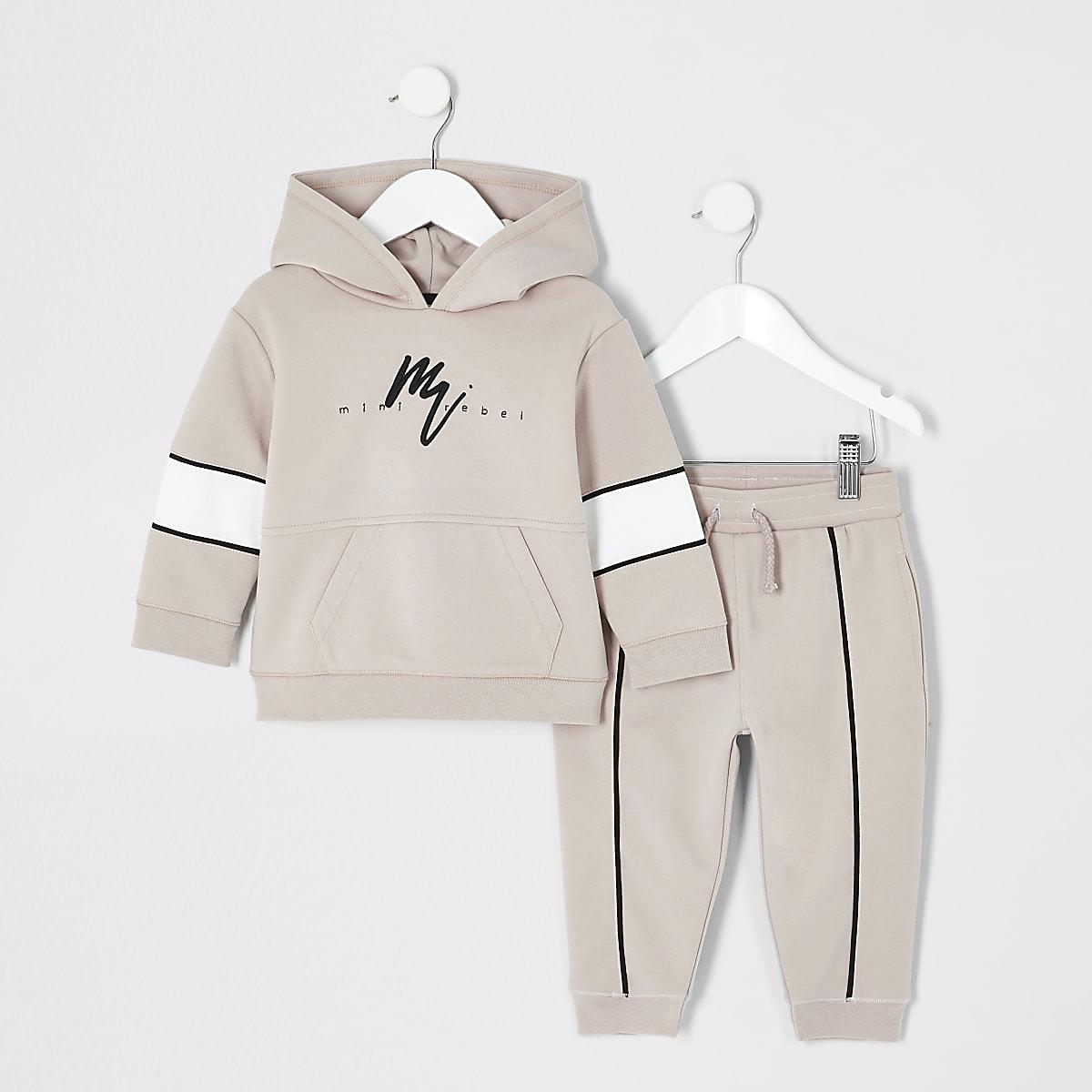 Mini boys stone 'rebel' hoodie outfit