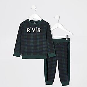 Mini – Grün kariertes Sweatshirt-Outfit für Jungen