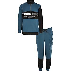 Outfit met groenblauw sweatshirt met 'Virtue'-print voor jongens