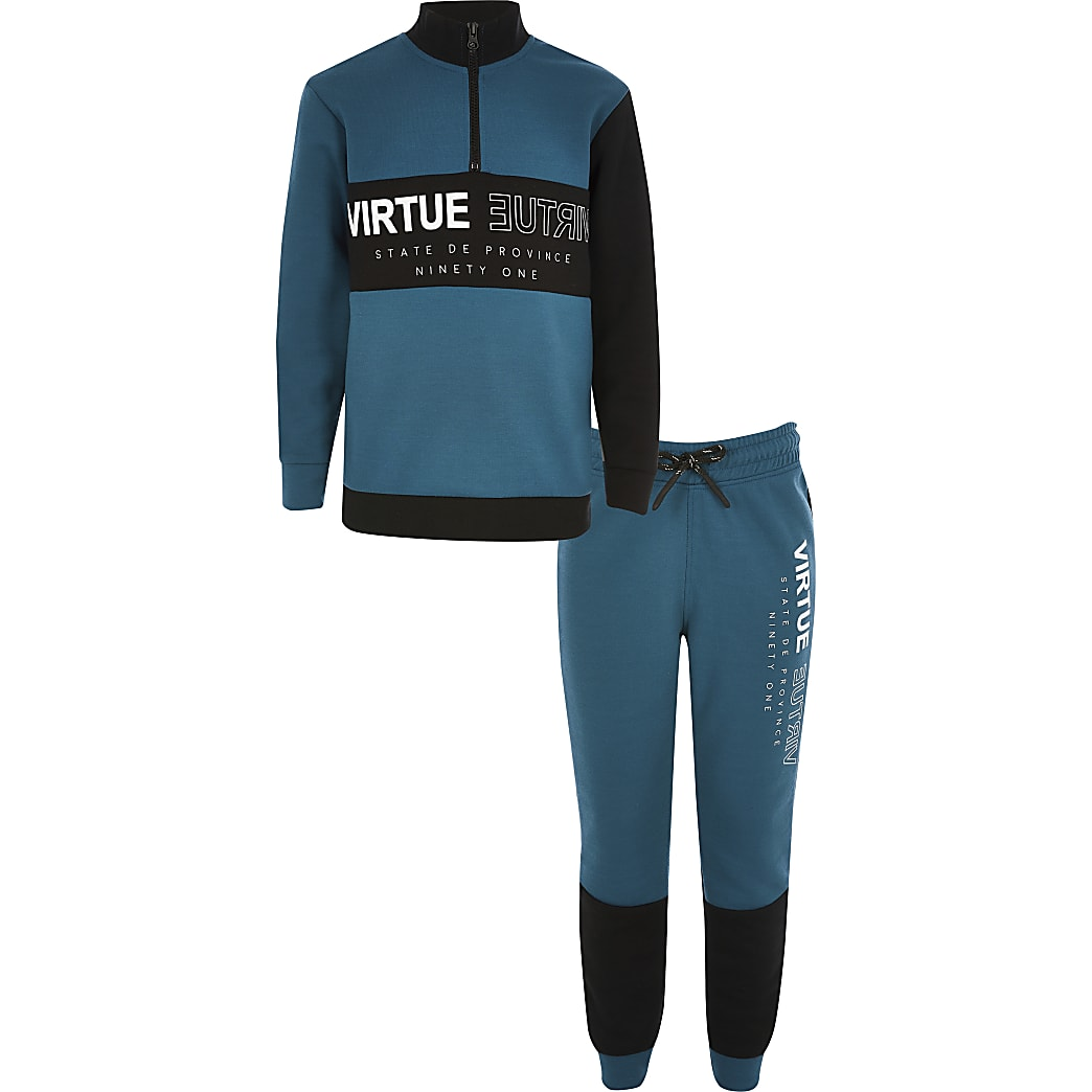 Boys teal 'Virtue' printed sweatshirt outfit