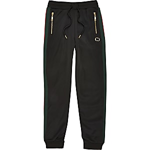 Criminal Damage – Pantalon de jogging noir à bandes latérales pour garçon