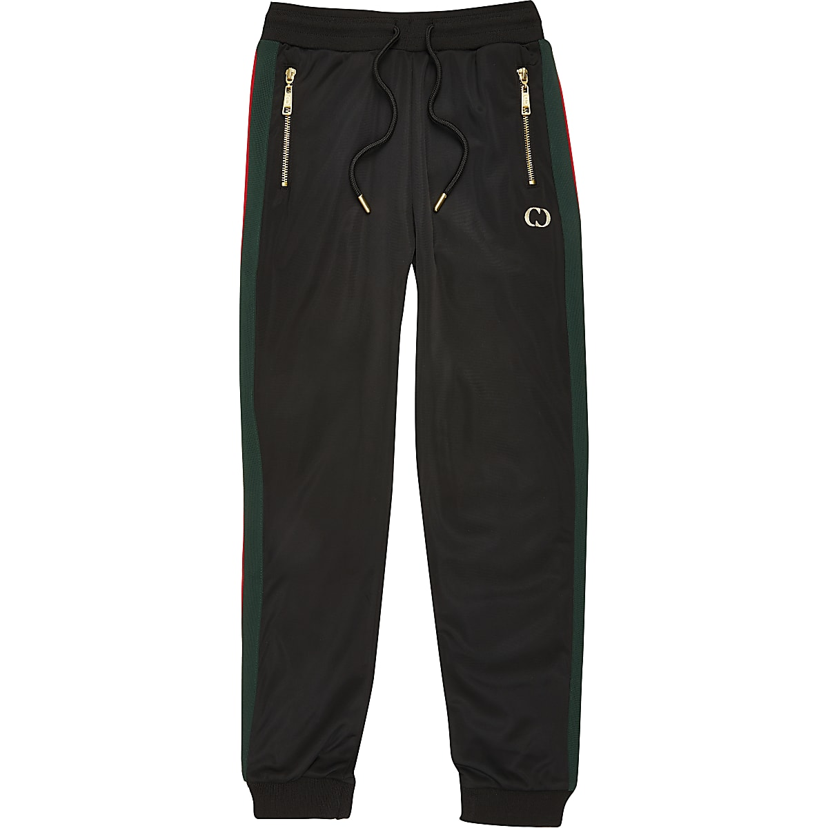Boys Criminal Damage black stripe joggers