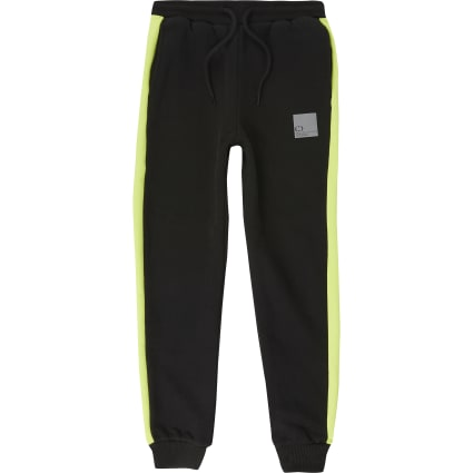 Boys Criminal Damage black blocked joggers